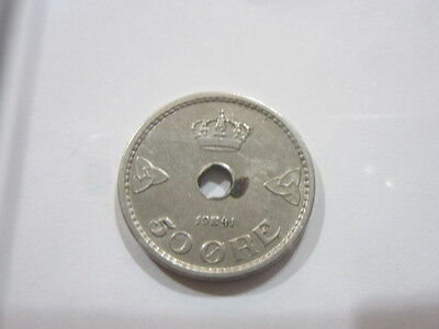 Norway 50 Ore, 1941 Vintage Coin