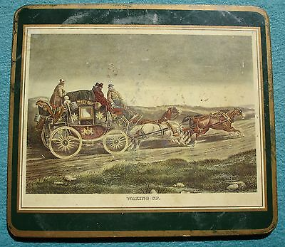 Antique Trivet English Stagecoach WAKING UP Litho 4 Horses Coaster Pressed Cork