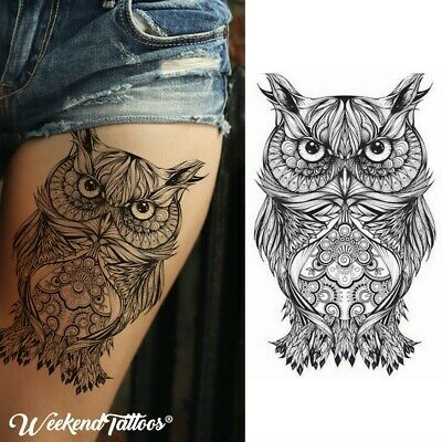Owl Animal Bird Wizard Temporary Tattoo Sticker 3D Waterproof  Body Art  Adults1
