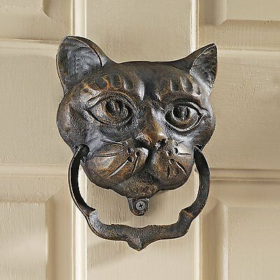 New Black Cat Vintage Cast Iron Door Knocker Kitten Home Decor Antique Finish