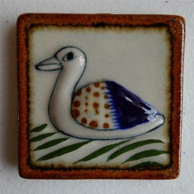 Duck On Water Mexican Wall Hanging Ceramic Tile, Tonala Art