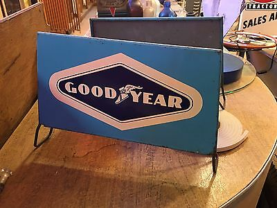 WOW VinTaGe GOODYEAR TIRE STAND Sign Gas OiL Advertising OLD CAR Truck
