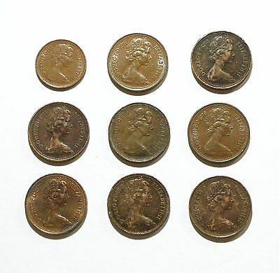 Great Britain UK England Penny Coins from 1971 & 1973-1979, and 1/2 Penny 1971