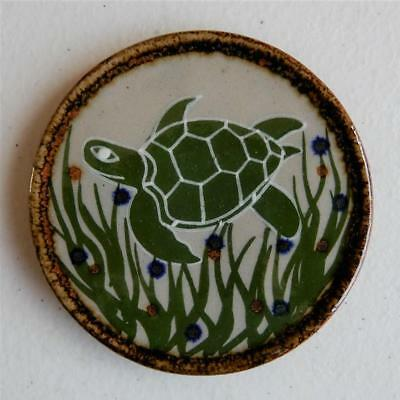 """Swimming Turtle"" Drink Coaster or Wall Art Mexican Ceramic Tile, Tonala Art"