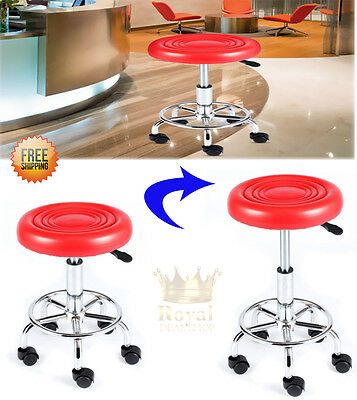 Hydraulic Adjustable Medical  Rolling Stool Chair With Wheels and Foot Ring Red