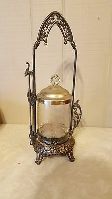 Antique Pickle Castor Toronto Silver Plate Co. Etched Glass Bird Flowers