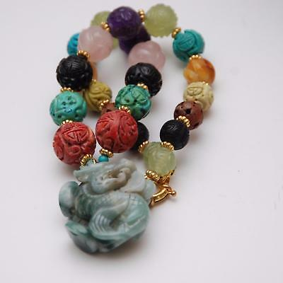 CHINESE CARVED Jade Gemstone Dragon Pendant_Multi-Color Stone Necklace