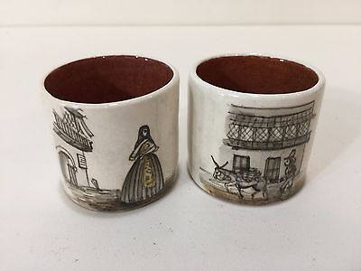 Vintage 2 Peru Peruvian Hand Painted Pottery Lima Shot Cups, Signed