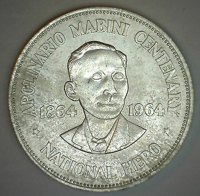 1964 Philippines Silver Peso Apolinario Mabini KM192 One Peso Crown Size Coin #R