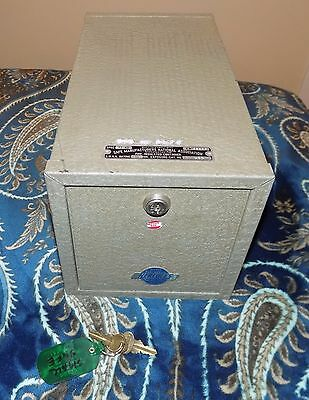 Vintage Meilink Hercules Small Silver Fireproof Safe with 2 Keys-EUC