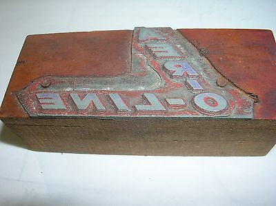 AER-O-LINE Vintage Wood Block Printing Metal PRINTERS Stamp  Advertising