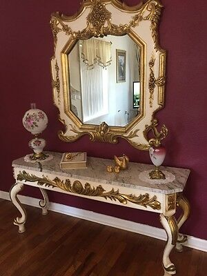 Gorgeous Marble Top Ornate Hallway Table console