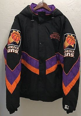 VTG Phoenix Suns Starter Jacket Parka Heavy Coat Mens 2XL NBA 90s Removable Hood