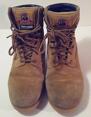 Brahma, Men's Brown Leather Waterproof, Lace Up Boots, Size 10
