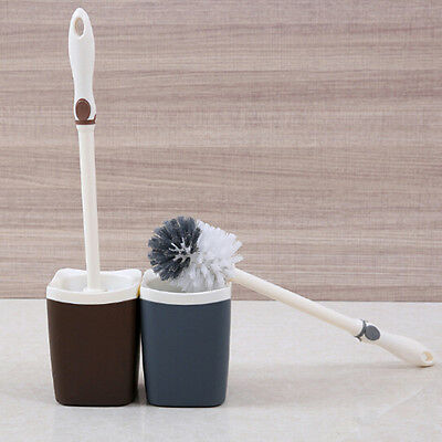 New Bathroom Plastic Toilet Bowl Cleaning Brush and Caddy Brush Holder Set