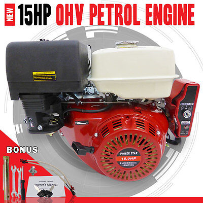NEW 15HP Electric Start OHV Stationary Petrol Engine Horizontal Shaft