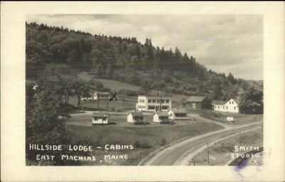 East Machias ME Hillside Lodge Cabins Real Photo Postcard