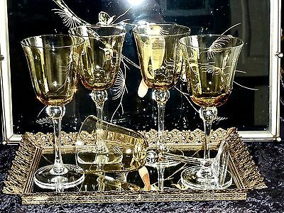 Majestic Elegant Large Crystal Optic Amber Wine Glasses Tall Clear Steam