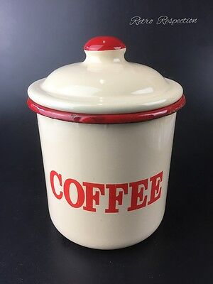 Cream & Red Enamel Canister - Coffee - Reproduction
