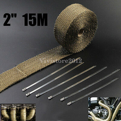 Titanium Exhaust Header Heat Pipe Wrap Insulation Tape 15M x 50mm + 6 Ties