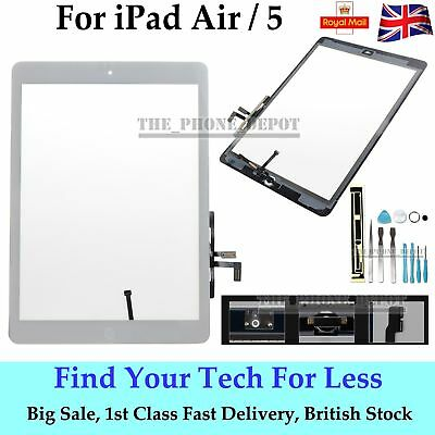 Replacement For IPAD 5 Air Touch Screen Digitizer Front Glass Home Button White
