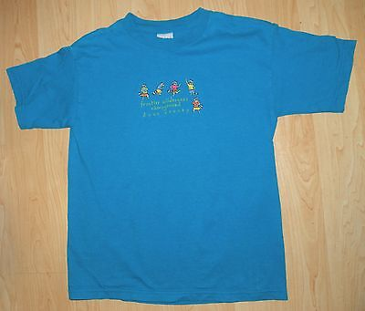 Gildan Activewear Kids Blue T-Shirt with Embordered Racoons Youth Size M