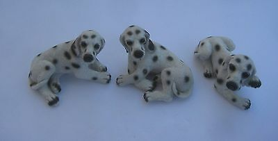 Dalmatian Dogs 3 Figurines Laying Down Resin By Bertie's