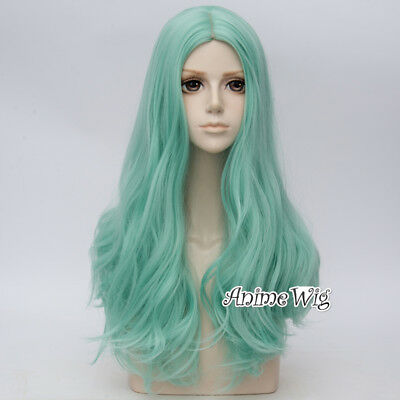Lolita 60CM Long Green Curly Anime Party Cosplay Full Wig+Cap Heat Resistant