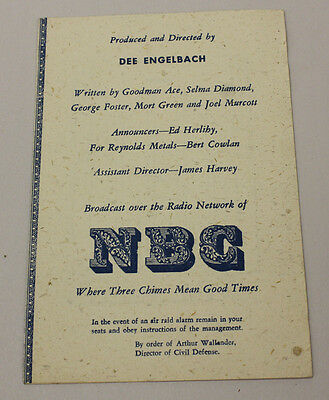 The Big Show, NBC Variety Radio Show 1951 Program