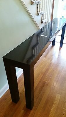 "Vintage Modernist Long Parsons Style High Gloss Lacquer Console Table-82""W"
