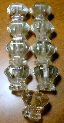 Hardware Drawer Pulls Knobs Cabinet Antique Glass Handle Lot of 9 Similar Old