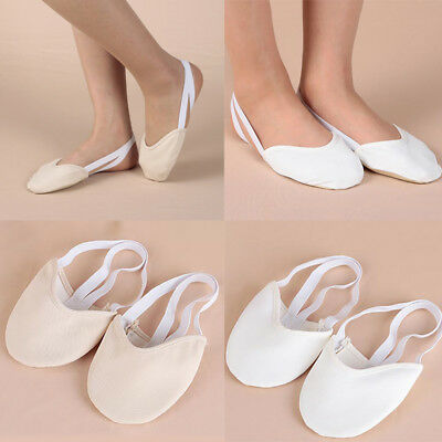 Rhythmic Shoes Toe Half Gymnastics Beige White Lyrical Dance New