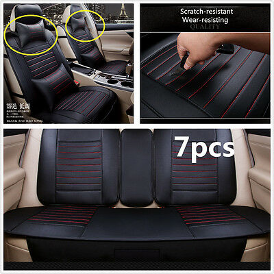 Deluxe PU leather Universal Car seat covers black 5-Seats Front + Rear w/Pillows