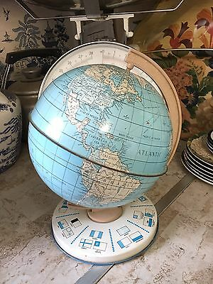 Retro Vintage Mcm Chad Valley Tin Plate Desk Top Toy Globe.
