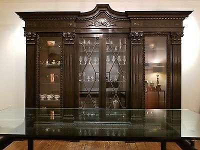 English Library Bookcase Dining Buffet Black Glass