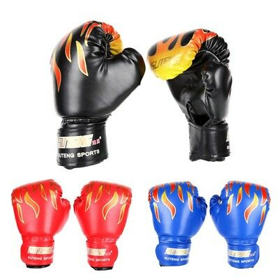 AU Kids Children Boxing Gloves Training Punching Sparring Glove Red Black Blue