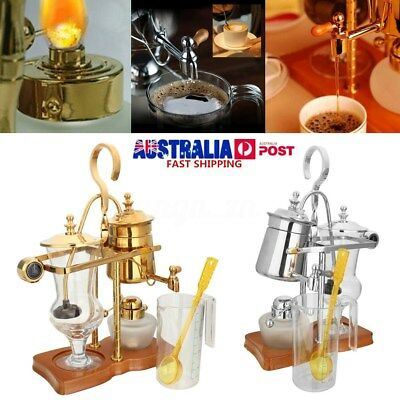 Silver Gold Belgium Luxury Royal Balance Syphon Coffee Maker Siphon Brewer Set