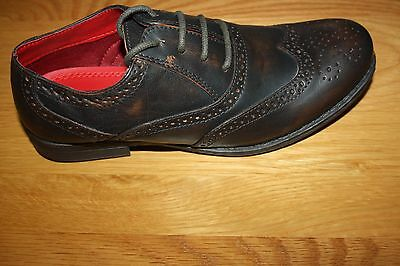 Boys Tan Leather Brogues School Shoes Lace Up 1,2,3,4,5,6 Only  Free P&p