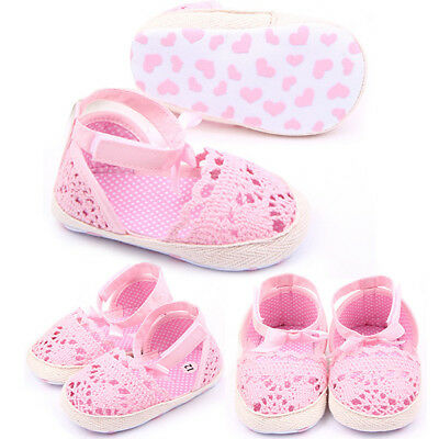Newborn Toddler Baby Kid Girl Shoes Crochet Flower Soft Sole Sandals 0-18M