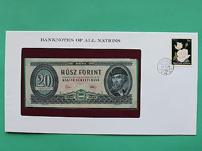 1975 Hungary 20 Forint Franklin Mint Banknote Cover SNo46183