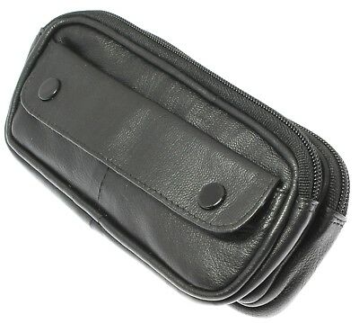 Soft Black Lambskin Leather Double Spectacle Case Holder With Belt Loop