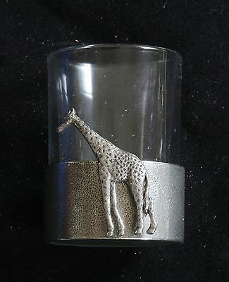 Giraffe Shot Glass Pewter Based Round 50ml Safari Gift