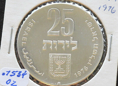 1976 Israel 25 Lirot Silver Mint Coin 28th Anniversary of Independence D4828
