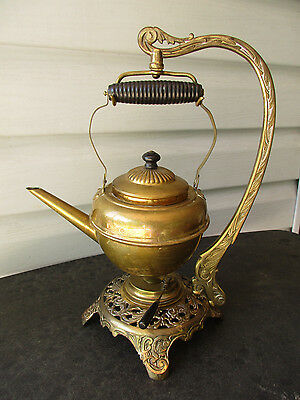 c1896 Bradley & Hubbard Ornate Stand Set w/ Hanging Teapot & Burner* Metal Wood