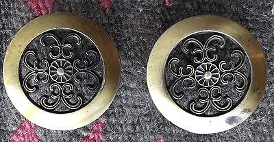 "Pair of Mid-Century Hollywood Regency Drawer Pulls Knob Bronze #846 1 1/2"" ~~"