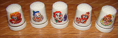 Big Top Circus Clown Thimble's (Set of 5)  Hand-Painted Porcelain
