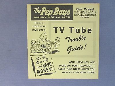 Original Vintage Pep Boys Tv Tube Trouble Guide Pamphlet In Good Condition