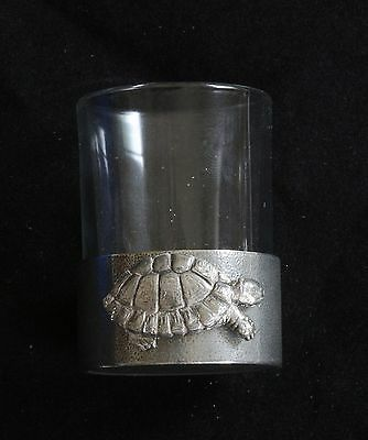 Tortoise Shot Glass Pewter Based Round 50 ml Wildlife Gift