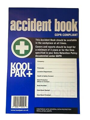 Accident Injury Report Book HSE Compliant 50 Page A4 First Aid Office School