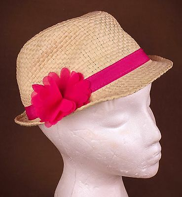 TCP Girls Easter Hat * Fedora Straw tan * hot pink flower * Children's Place 7/8